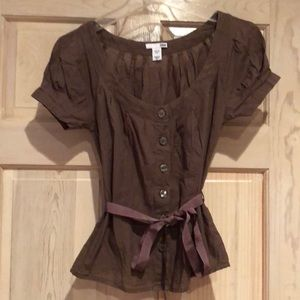 Brown Fitted short sleeve shirt